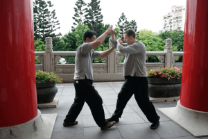 Master Luo and Ollie Smith training Taiji -Si Ping Tui Shou